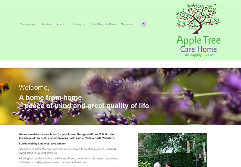 Apple Tree Care Home - website design by The Big Ideas Collective