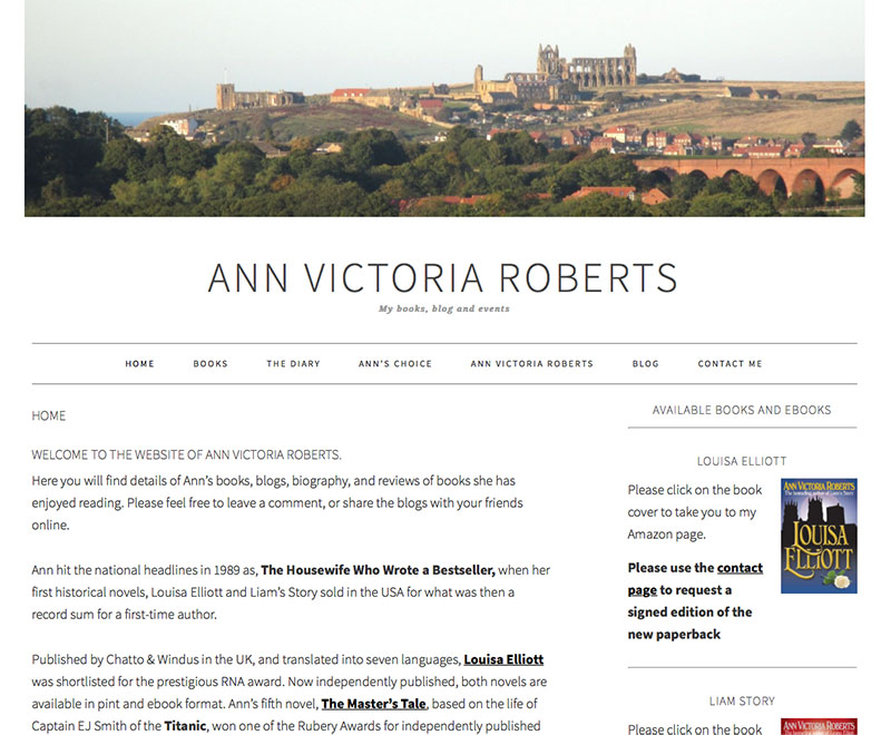 Ann Victoria Roberts - website design by The Big Ideas Collective