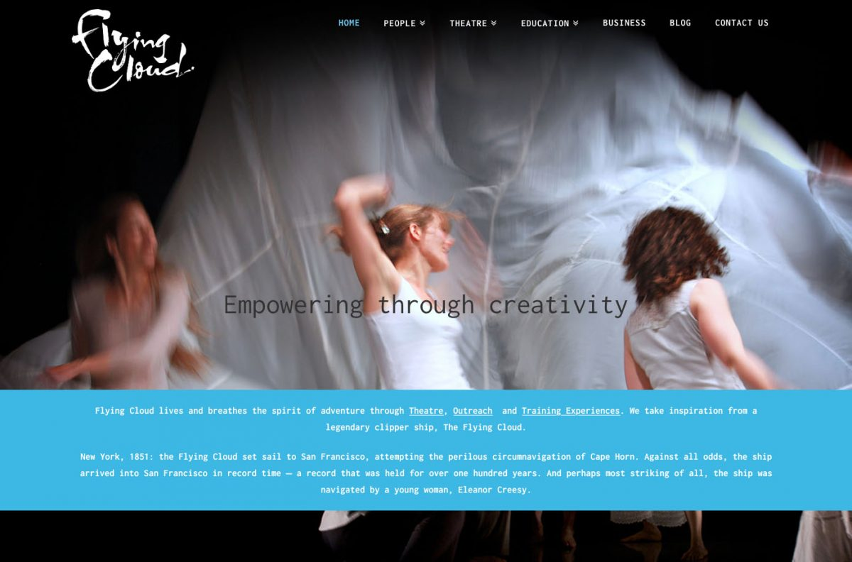 Flying Cloud - website design by The Big Ideas Collective