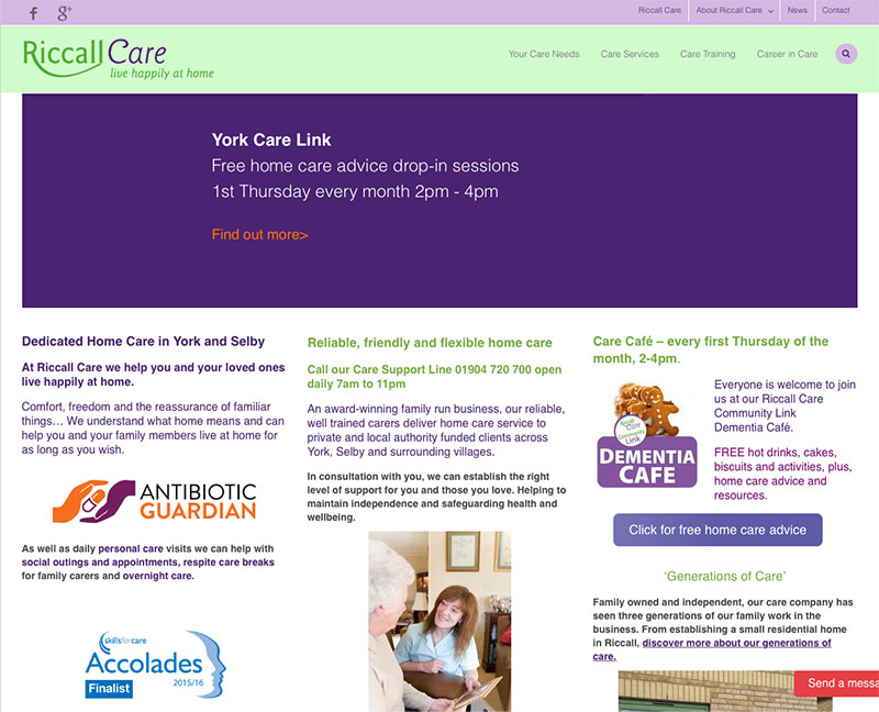 Riccall Care - website design by The Big Ideas Collective