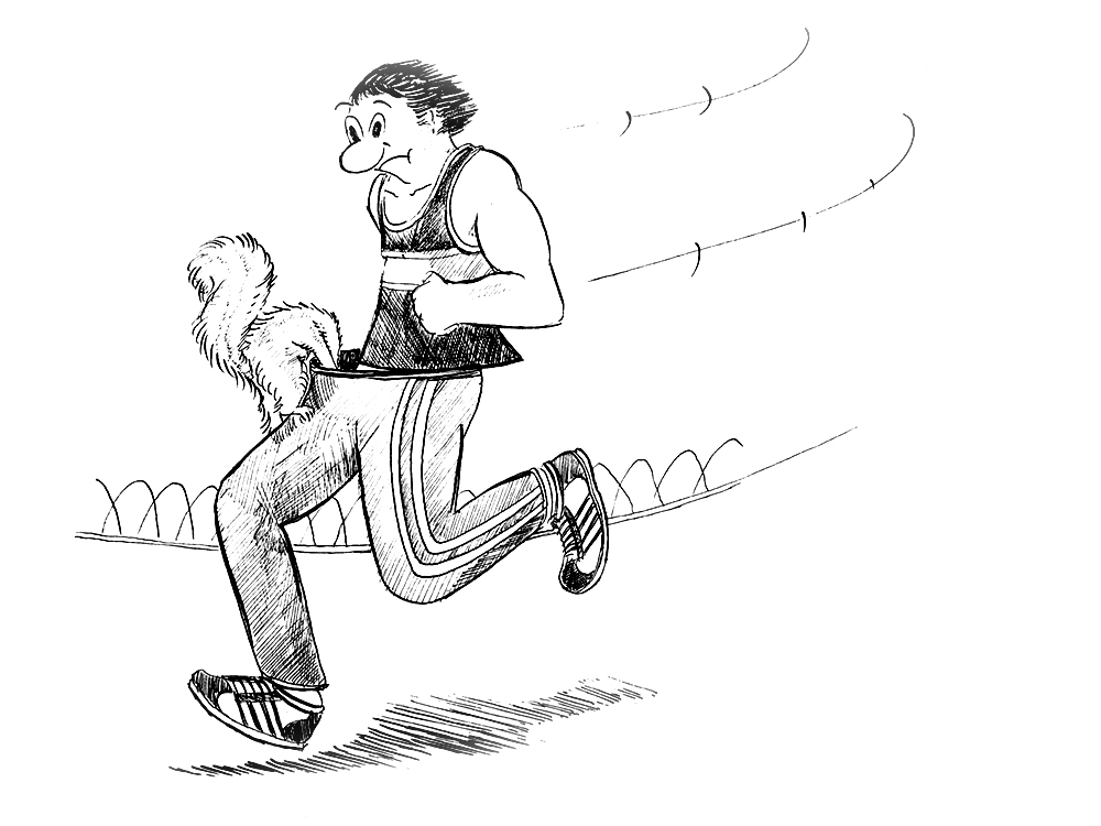 Anarchy: Squirrel runs up joggers pants in search of nuts
