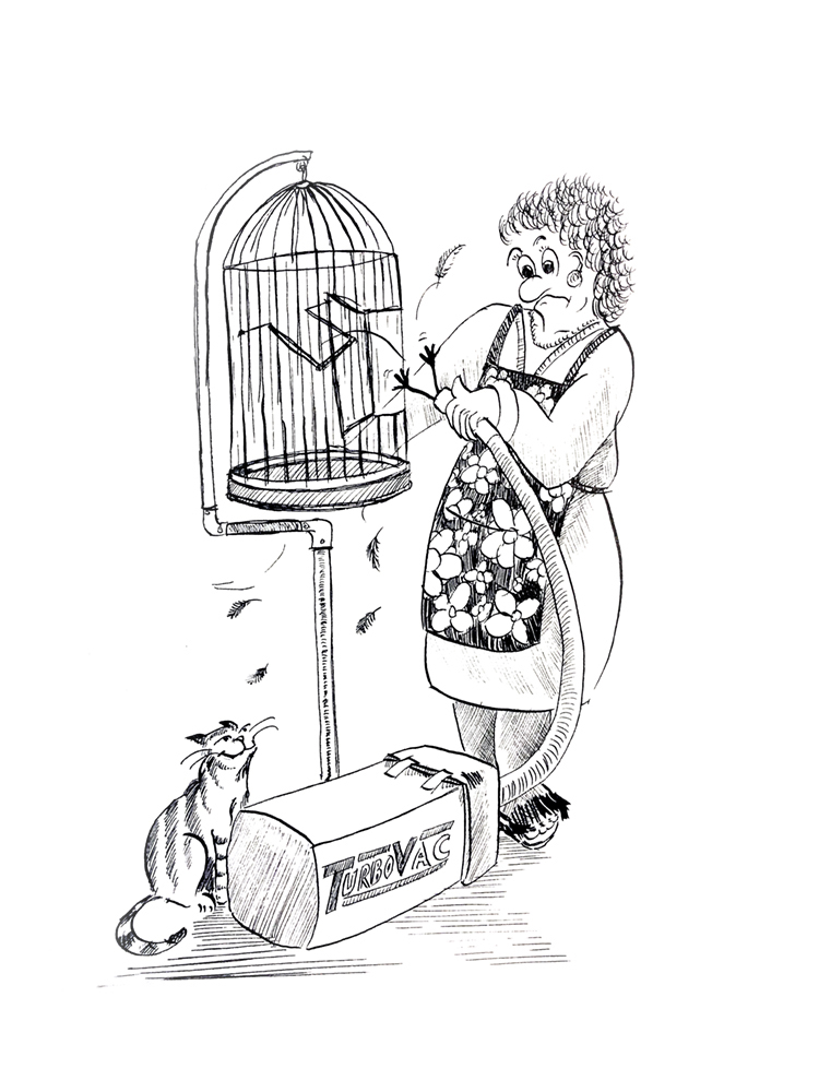Woman cleans out budgie cage and budgie with vacuum
